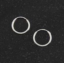 Sterling Silver 1.2mm x 14mm Endless Hoop Earrings Round .925 Jewelry