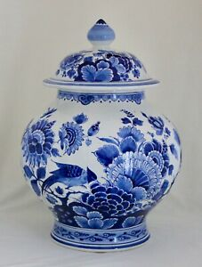 Large Royal Delft De Porceleyne Fles Blue & White Round Covered Ginger Jar 15""