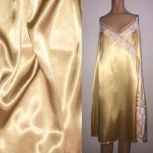"4X SHINY Gold LIQUID SATIN Full Slip 48-54"" Bust WHITE LACE HEM Gown Vtg Stl 3X"