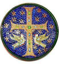 Gold Plated Confirmation Holy Spirit Dove Cross Religious Plate DERUTA Ceramic