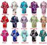 Women's Plain Silk Satin Robes Bridal Wedding Bridesmaid Bride Gown Kimono:Robe: