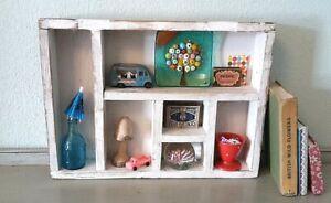 Vintage Pigeon Holes,Tray Shelf, Retro Desk Top Miniatures Storage Display Unit