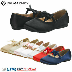 DREAM PAIRS Kids Girls Flat Shoes Lightweight Bow-knot Slip On Mary Jane Shoes
