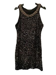 Quiz Black Embellished Plait Neckline Sequin Wiggle Bodycon Party Dress 12 14