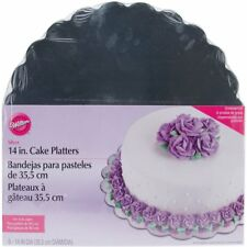 "Wilton 14 "" Silver Cake Treats Platters Scalloped Edges Baking Decorating 6 Pack"