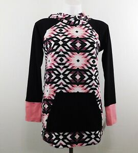 Lula Roe Women Hoodie, Size S, Black Multi-color, 95% Polyester, 5% Spandex