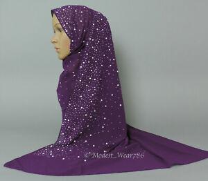 Premium Quality Chiffon Pearl Rhinestones Hijab Shawl Scarf Muslim Headcover