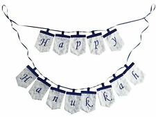Happy Hanukkah Blue and White Pennant Banner