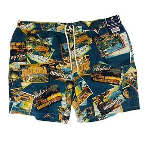 CARIBBEAN JOE Swim Trunks Vacation Beach Island  Aloha Trinidad Florida Sz XXL