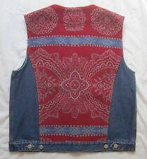 Pendleton M Denim Wool Vest Red Blue Floral Paisley Geometric Womens Medium