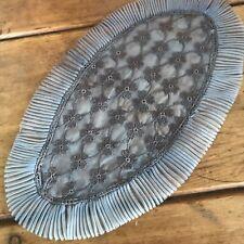 Halloween Sheer Antique Irish Linen Hand Dyed Dark Gray Crochet Lace Doily Mat