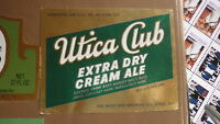 OLD 1970s USA BEER LABEL, WEST END BREWERY UTICA NEW YORK, UTICA CLUB DRY 32 Oz