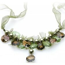 """New Elegant Green Ribbon Necklace Made with Swarovski Crystals and Beads 26"""""""