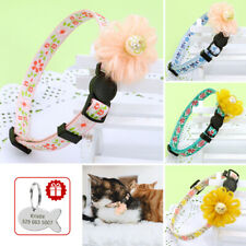 Pearl Flower Personalized Cat Kitten Collar Nylon Breakaway with Tag Adjustable