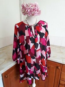C12 Marks & Spencer Collection Pink Mix Beaded Sheer Top Blouse CoverUp Size 18