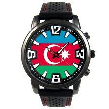 Azerbaijan Country Flag Mens Analog Dial Black Rubber Silicone Wrist Watch S16F