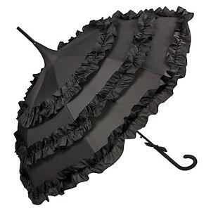 Von Lilienfeld Regenschirm Stockschirm Pagodenschirm mit Rüschen schwarz Lilly