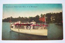 RAVENSWOOD White Lake, MI P.O. Montague, vintage postcard, 1907, boat Cathrine