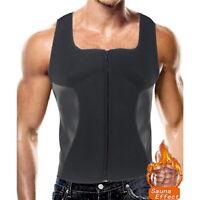 Homme Gilet de Sudation T-shirt Zipper Débardeur Minceur Fitness Sauna Hauts