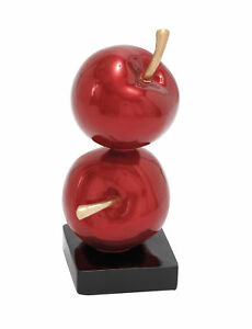 Double Apple Iron Sculpture Red Shiny Attractive Design Metallic Square Base New