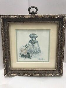 """Victorian Print Perfume Bottle Wanda Lee Ornate Gold Frame Canada 5.5""""x5.5"""""""