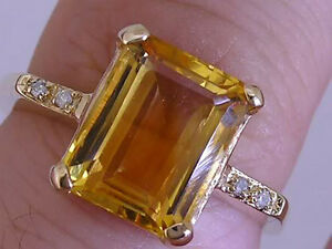 R226 Genuine 9ct Solid Yellow GOLD NATURAL Citrine & Diamond Solitaire Ring sz M