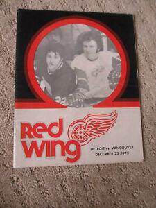 DEC 23 1972 DETROIT RED WINGS vs VANCOUVER CANUCKS HOCKEY PROGRAM