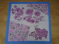 Foulard carré polyester rose/bleu