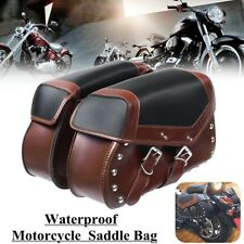 2pcs Universal Brown Motorcycle Saddle Bags Side Pouch Luggage Storage Fork Tool