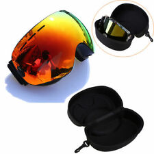 Black Frame Orange Ski Goggles Skiing Snowboard Double Lens Anti-UV Box Storage