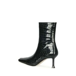 Fashion Lady Snakeskin Print Square Toe High Heels Stiletto Ankle Boots Oversize