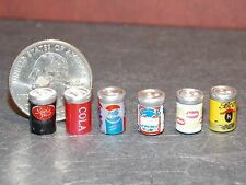 Dollhouse Miniature Beer Soda Cans Set of 6  1:12 inch scale A18 Dollys Gallery