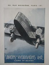 1934 PUB LIORE OLIVIER LeO AVION THE GOLDEN RAY AIRCRAFT HALLO ORIGINAL AD