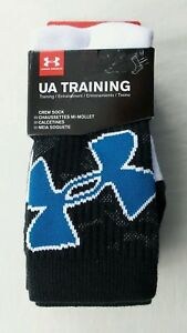 Under Armour TRAINING Youth Crew Socks 3 Pack Medium 13.5-4 Blue Black Sport New