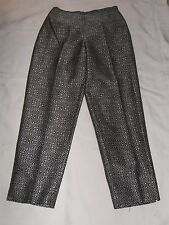 WOMENS TALBOTS PURE SILK LINED PANTS BLACK W SILVER EMBROIRDERED DESIGN SIZE 6
