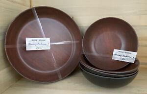 Tommy Bahama- Melamine Bowls + Plates DarkWood Grain-Set Of 8 Indoor Outdoor Use