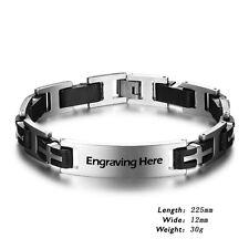 Personalized Engraving Chain Bracelets Custom Men Stainless Steel Cuff Bracelets