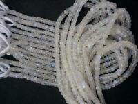 """5 Strand Natural Rainbow Moonstone Rondelle Faceted Loose Beads 13""""Inch 4-5mm"""
