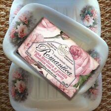 Nesti Dante SET Seife mit Seifenschale ROSE ROMANTICA 250g+ Keramik Handarbeit