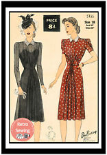 1940's Tea or Cocktail Dress Sewing Pattern - Reproduction