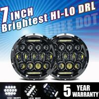 DOT 7 inch Round LED Headlights Halo Pair Hi-Lo For Land Rover Defender 90 110