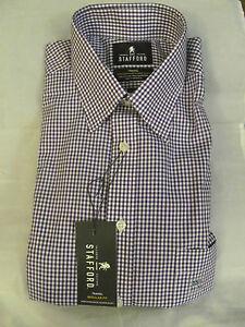 NWT Men's Stafford Reg Fit Purple Gingham Long sleeve Shirt sz 15 1/2 34-35