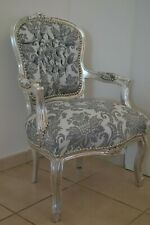 LOUIS XV ARM CHAIR FRENCH STYLE CHAIR VINTAGE FURNITURE GREY AND WHITE SILVER