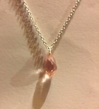 SMALL GLASS PINK FACETED BRIOLETTE PENDANT SILVER PLATED CHAIN