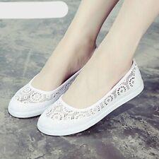 Women Lace Canvas Hollow Floral Decor Breathable Platform Flat Shoes
