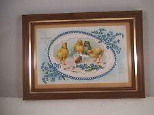 Vintage Framed Postcard Happy Easter Chick Egg Beetle