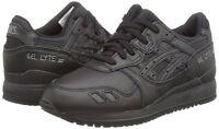 Asics Gel Lyte III 3 Trainers Triple Black Shoes Pure Pack Ship internationally
