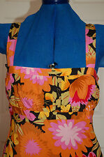 New Linea Sz 8 Limited Edition Orange Pink Black Midnight Floral Print Dress