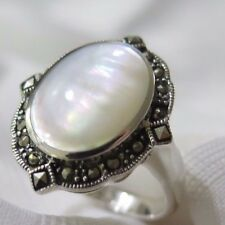 925 STERLING SILVER MARCASITE REGAL MOP  RING SIZE 10