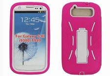 Hybrid Armor Case with Kickstand for Samsung Galaxy S3 i9300 - Pink/White